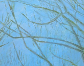 fine art painting - Spring Green Branches - original large artwork by Irene Stapleford - wantknot shop
