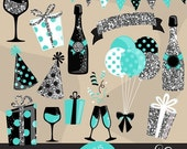 Happy New Year Clipart Silver Glitter & teal graphics. Gift boxes, balloons, banners, backgrounds, ribbon, confetti, digital papers