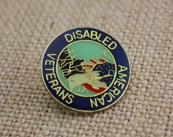 Disabled American Veterans - Enamel Pin by American Gag Bag Inc. - Vintage Novelty Pin c. 1980s
