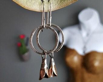 Flower Pod Earrings, Sterling Silver, Brass, Timeworn, Organic Artisan Jewelry, Women's Botanical Earrings, Nature Jewelry, Dangle Earrings