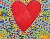 Folk Heart Hand Painted Notecard