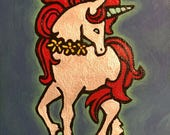 Unicorn hand painted notecard