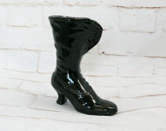 Vintage 70s Black Victorian Steampunk Witch Granny Boot Planter Ceramic Vase Objet D'Art Figurine