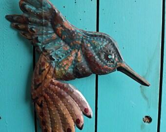 Hummingbird Spirit - copper metal songbird tribal wall hanging - Pacific Northwest Coast Indian inspired - turquoise bluegreen patina - OOAK