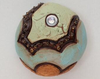 Mini Ceramic Sculpture - Abstract Sea Urchin, wall decor, wall hanging (L-01)