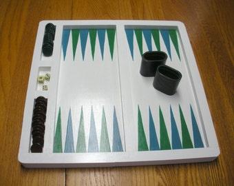 FREE SHIP Handmade, Hand painted coastal colors white kelly green, azure blue wood wooden Backgammon Game Board Wall Art BearlyArtDesigns