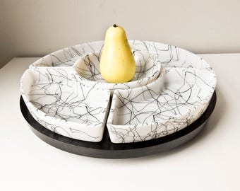 Lazy Susan, Buffet Service, Serving Set, Hazel Atlas, Appetizer Tray, Black and White Snack Server