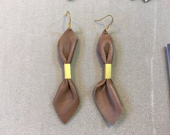 leather earrings with brass