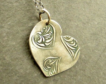 Heart Necklace Fine Silver Necklace PMC Jewelry Valentines Gift
