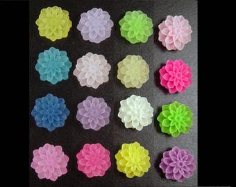 Cabochon Flower 32 Frosted Resin Dahlia Flower Round PAIRS 15mm (1011cab15m9)