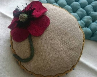 Linen and Poppy Pin Cushion