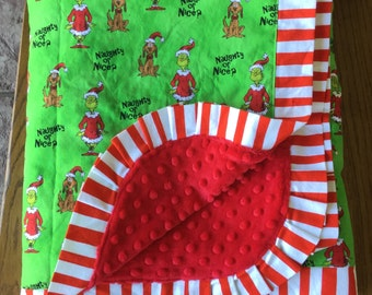 Lime Green Grinch Christmas Themed - Dr. Seuss Minky Blanket - Lap Sized Blanket - Can be personalized