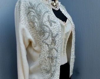 Vintage 1950s Pin Up Sweater, ROSE PRINCESS, Beaded Cardigan, Beaded Sweater, Elegant, Mad Men, Winter White, Size 38, Lambs Wool