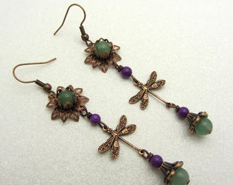 Copper Dragonfly Earrings Purple and Green Earrings Drop Dangle Earrings Boho Style Earrings SRAJD