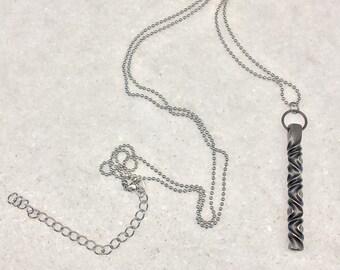 6th anniversary jewelry - Statement steel twist pendant - 6th anniversary gift for her - iron anniversary - 11th anniversary -