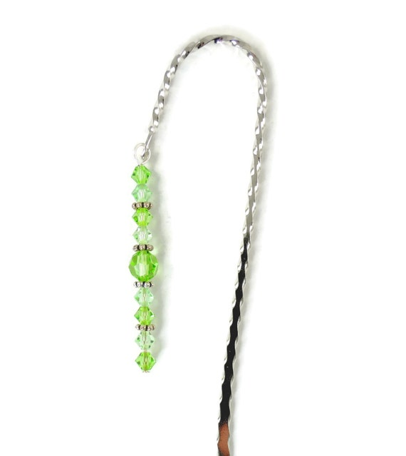 August Bookmark - Peridot, Hook Bookmark, Crystal Bookmark