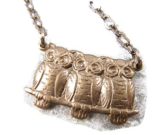 Three Little Owls Brass Necklace