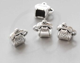 10 Pieces Oxidized Silver Tone Base Metal Charms-Telephone 14x14.7mm (1302X-V-13)