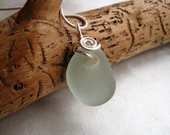 Natural Indentation Seafoam Green Sea Glass - Sea Glass Pendant - Wire Wrapped Pendant