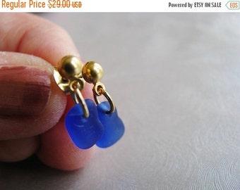 Mothers Day Sale Tiny Sea Glass Stud Earrings - Beach Glass Earrings - Cobalt Blue -  Post Earrings - Dangle Earrings - Ocean Jewelry - Sapp
