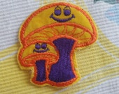 Vintage Groovy Mushrooms Patch, Orange and Purple, FREE Shipping