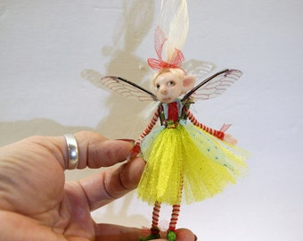 SALE ooak poseable bright spring PIXIE fairy ( #16 ) polymer clay art doll by DinkyDarlings   faerie faery angel