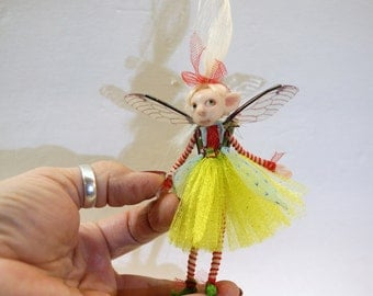 ooak poseable bright spring PIXIE fairy ( #16 ) polymer clay art doll by DinkyDarlings   faerie faery angel