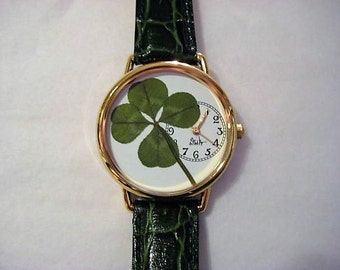 Four Leaf Clover in a Watch! Good Luck Charm in a Watch! Four Leaf Clover Watch, Pressed Flower Watch, Women's Watch,Watch for Women