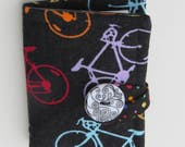 Tea Wallet , Tea Bag Holder, Cute Accessory, Purse Accessory, Bicycles on Black