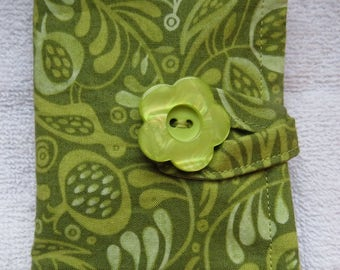 Tea Wallet , Tea Bag Holder, Cute Accessory, Purse Accessory, Green Birds and Vines