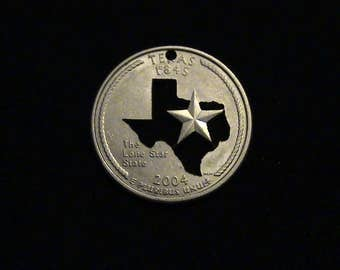 Don't Mess with this Texas Sate Quarter - cut coin pendant