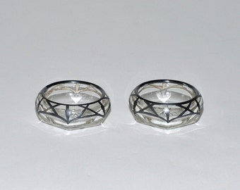 Antique Glass Sterling Silver Overlay Salt Cellars, Pair
