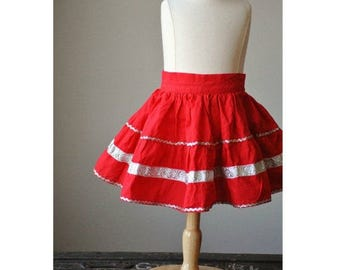 25% OFF SALE ON Sale~1950s Full Circle Skirt in Fire Red~Size 6 Months