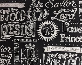 "Jesus Names Chalkboard Cotton Window Curtain Valance 43""W x 15""L"