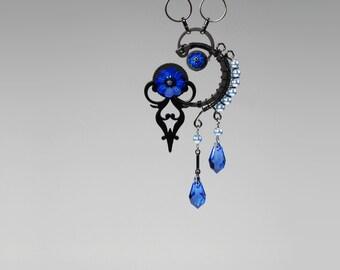 Dark Blue Swarovski Crystal Pendant, Crystal Necklace, Blue Swarovski Pearls, Crystal Jewelry, Steampunk Jewelry, Clock Hands, Skylla v3