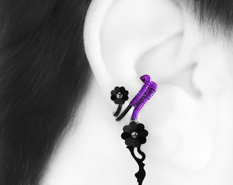 Steampunk Ear Cuff, Swarovski Crystal, No PIercing needed, Cartilage Earring, Right Ear Cuff, Crystal Earring, Metis III v8 (Right)