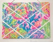 New memo board made with Lilly Pulitzer Multi Lovers Coral fabric