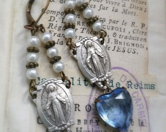 bLUE crystal silver Virgin Mary crystal earrings