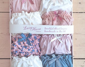 8x Panties Gift Box/ lingerie set/ ethical sexy underwear/ bamboo, organic cotton, bridesmaid favour, satin, frilly panties,