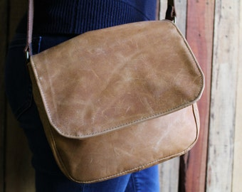 Leather bag - small leather messenger bag - small leather bag - leather satchel - leather crossbody - free shipping - leather bags women