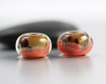 Lampwork Glass Beads - Peach Pair - Lampwork Beads - 13x8mm