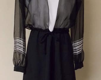 Philippe Marcel 2 piece dress, white spaghetti strap top black skirt with sheer black jacket 6/8