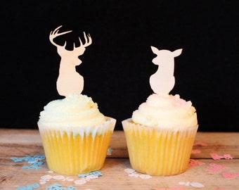 Buck or Doe Gender Reveal Cupcake Topper for Baby Shower