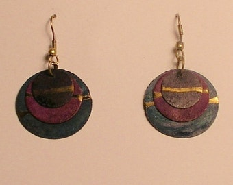 Blue & purple patina copper earrings