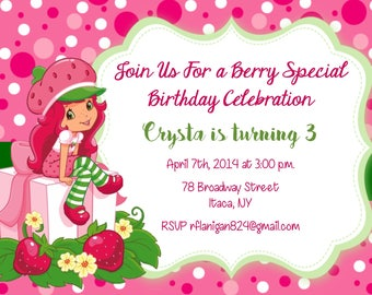 Girls Strawberry Shortcake Printable Birthday Party Invitation Digital Image