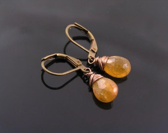 Tourmaline Earrings, Golden Tourmaline, Single Drop Earrings, Leverback Ear Wires, Tourmaline Earrings, Tourmaline Jewelry