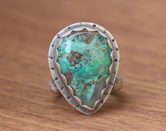 Chrysocolla and Quartz Ring, Sterling Silver