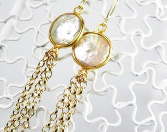 Pearl Dangle Earrings,  Bezel White Coins, Gold Fill, Bridal