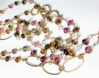 Tourmaline Necklace, Long Layering Wrap, Multi Strand Gold Bracelet