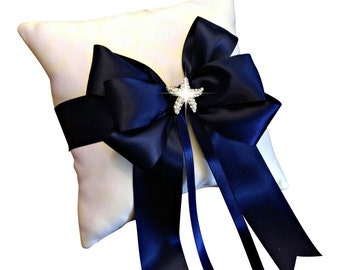 Navy Blue Ring Bearer Pillow - Ringbearer Pillow - Wedding Ring Pillow - Starfish Ring Pillow - Beach Wedding -  Custom Ring Pillow